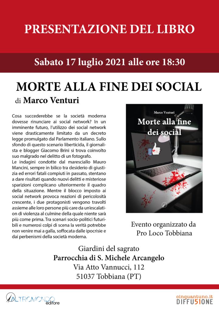 """Presentazione del libro """"Morte alla fine dei social"""" di Marco Venturi"""